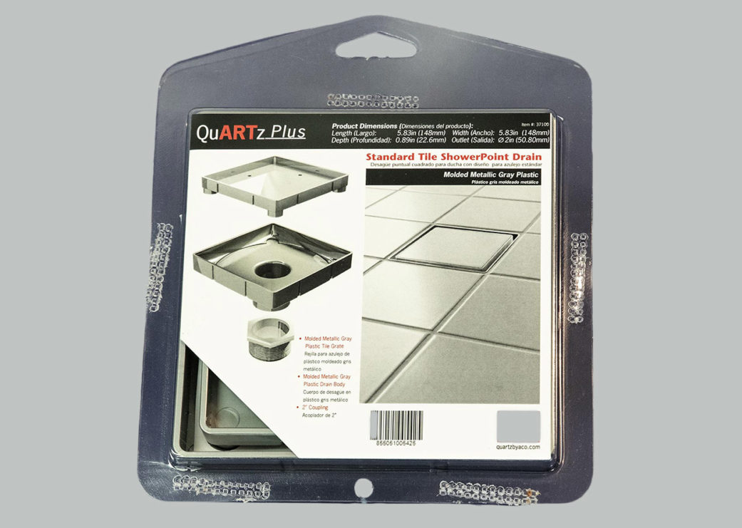 Tile Point Drain in Packaging gray background